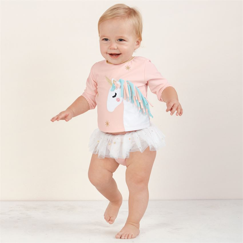 e98f2858c871 Home > Clothing & Accessories > Trendy Girl Outfits > Mud Pie Unicorn Rash  Guard 2 piece Swimsuit