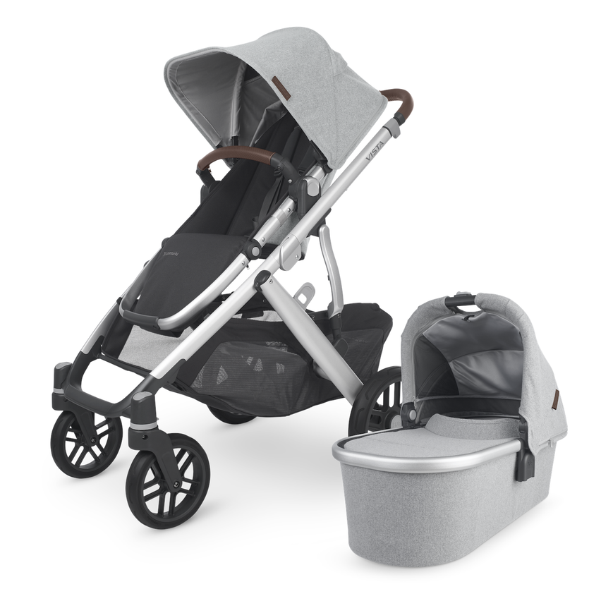 VISTA V2 Stroller - STELLA  (grey brushed mélange/silver/chestnut leather)