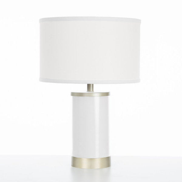 Oilo White Table Lamp with Gold Finish