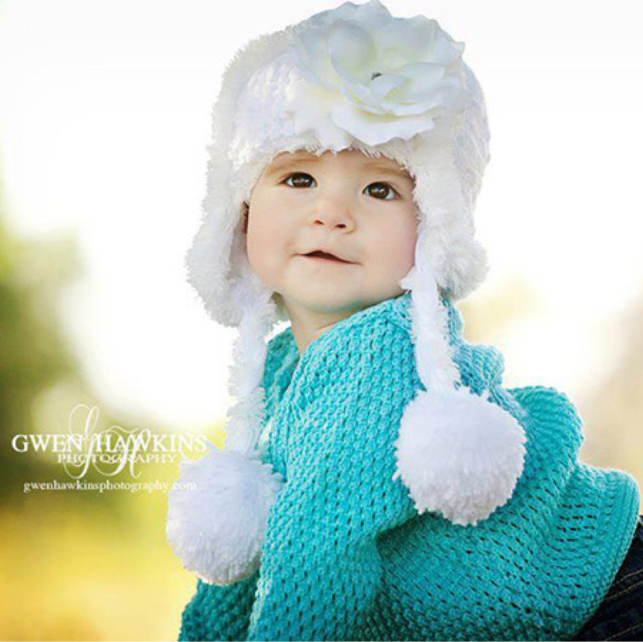 White Winter Wimple Hat with White Rose