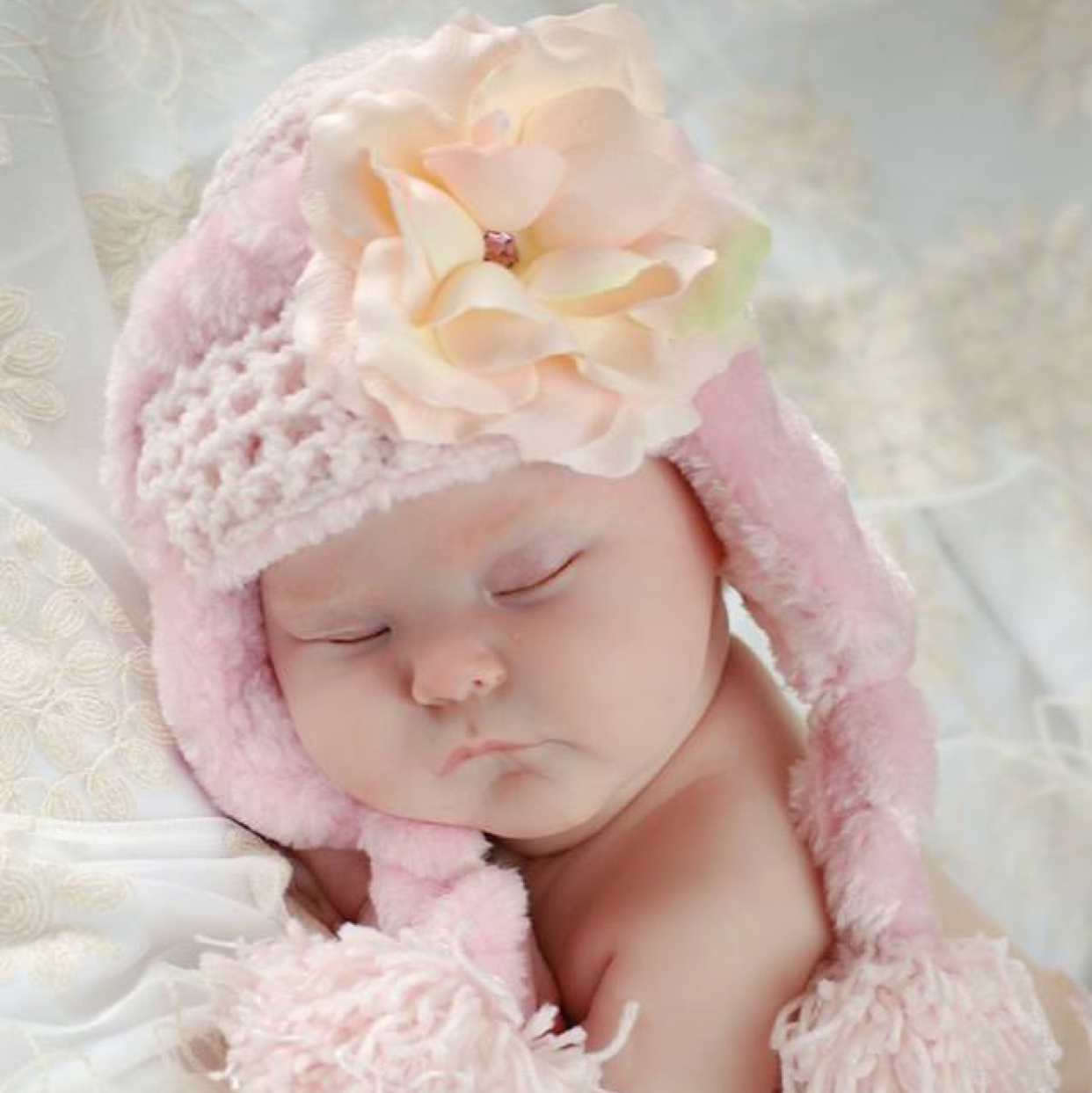 Pale Pink Winter Wimple Hat with Pale Pink Rose