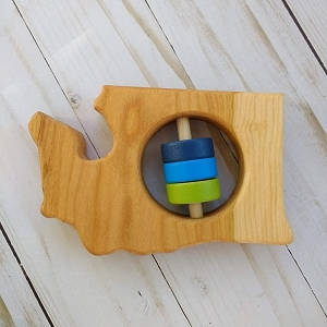 Washington State Wooden Baby Rattle - Blue & Green