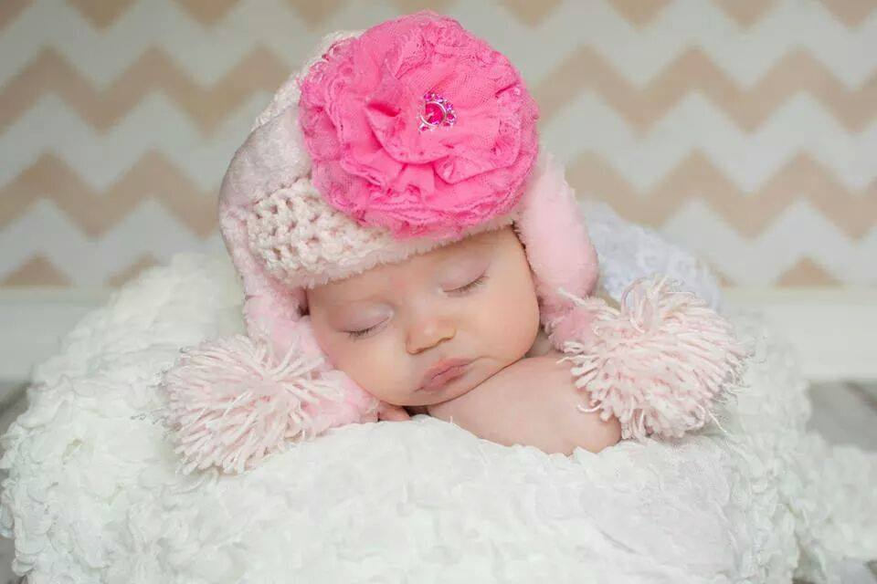 Pale Pink Winter Wimple Hat with Candy Pink Lace Rose