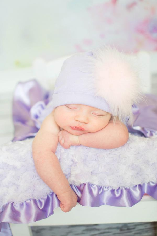 Lavender Hat with Pale Pink Regular Marabou