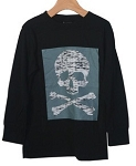 Charlie Rocket Long Sleeve Skull Tee- Black