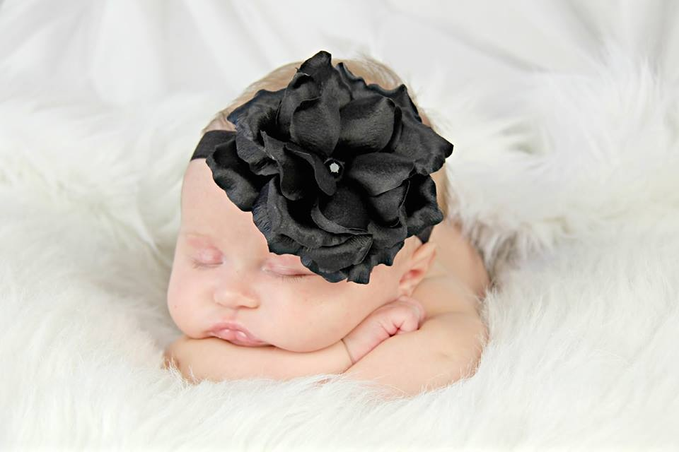 Black Flowerette Burst with Black Rose