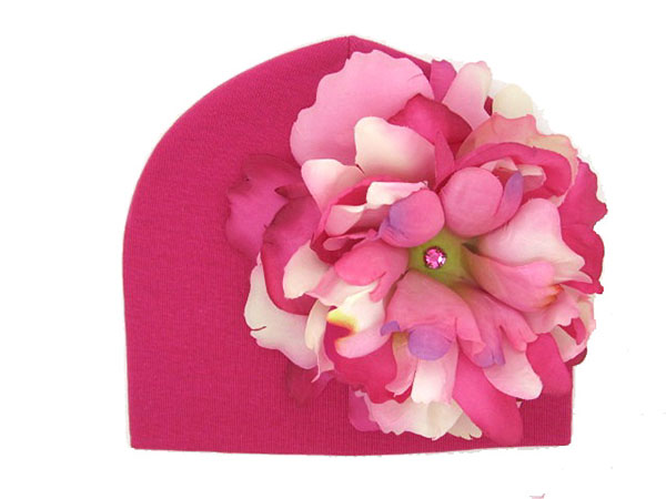 Raspberry Hat with Pink Raspberry Large Peony