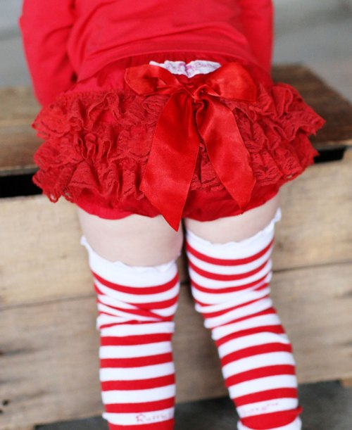 RuffleButts Red Lace Woven Bloomer