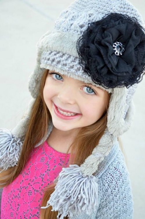 Gray Winter Wimple Hat with Black Lace Rose