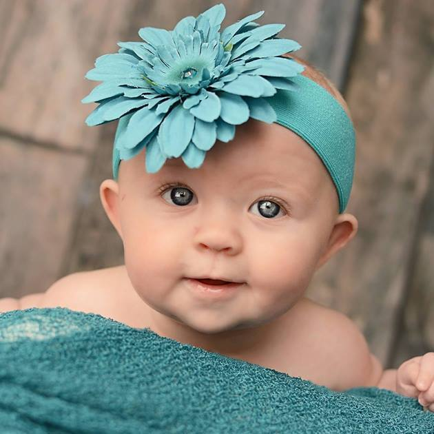 Teal Soft Headband with Teal Daisy