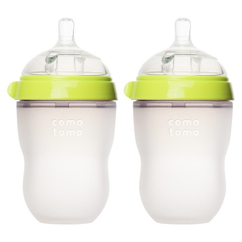 Comotomo 8oz Baby Bottle Double Pack - Green