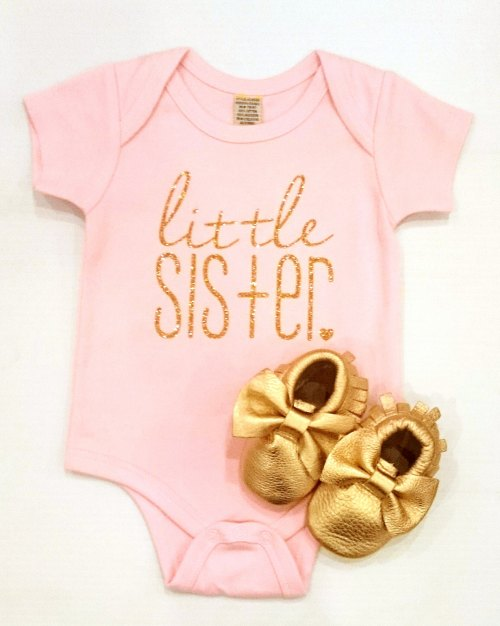 f9dc484b9 Little Sister Onesie - Gold Glitter