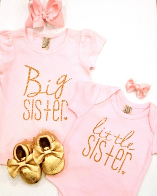 bd2376888 Little Sister Onesie - Gold Glitter