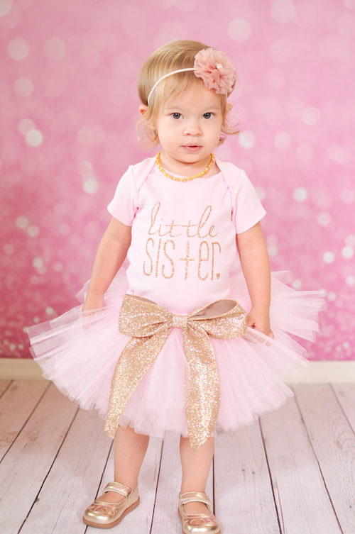 Little Sister Onesie - Gold Glitter