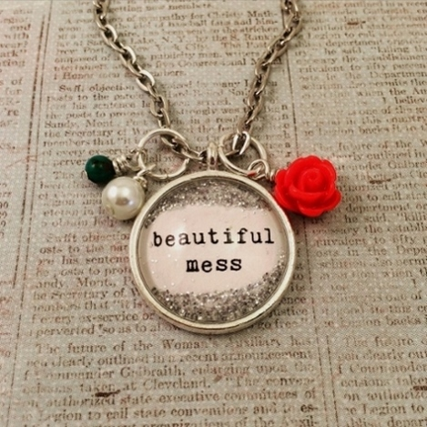 Glitter & Glass Necklace - Silver Beautiful Mess