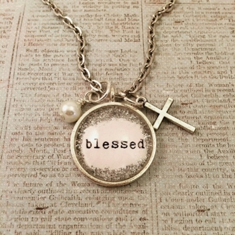 Glitter & Glass Necklace - Blessed