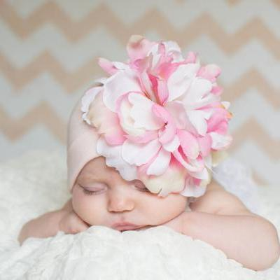 Pale Pink Hat with Pink & White Peony