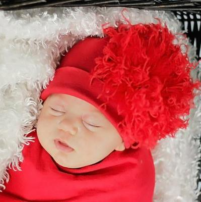 Red Hat with Red Curly Marabou