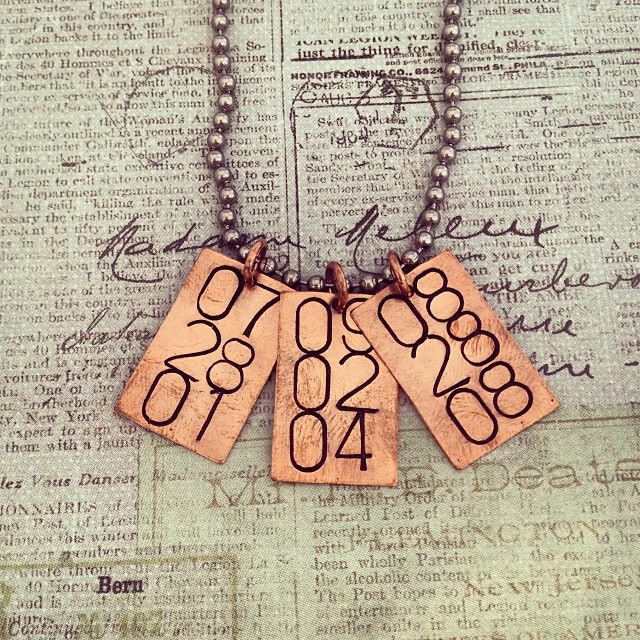 Customizable Copper Date Necklace