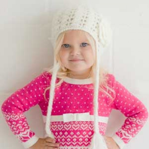 Lacy Flowered Earflap Beanie - Cream