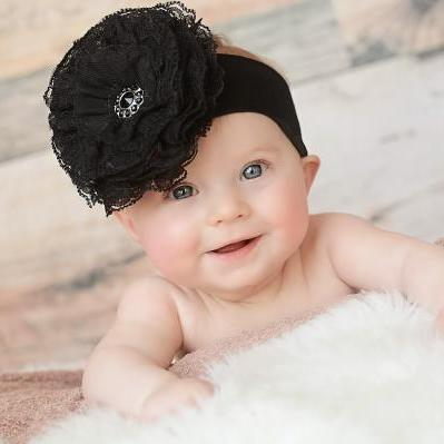 Black Soft Headband with Black Lace Rose