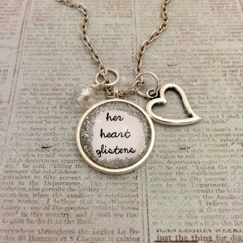 Glitter & Glass Necklace - Silver Her Heart