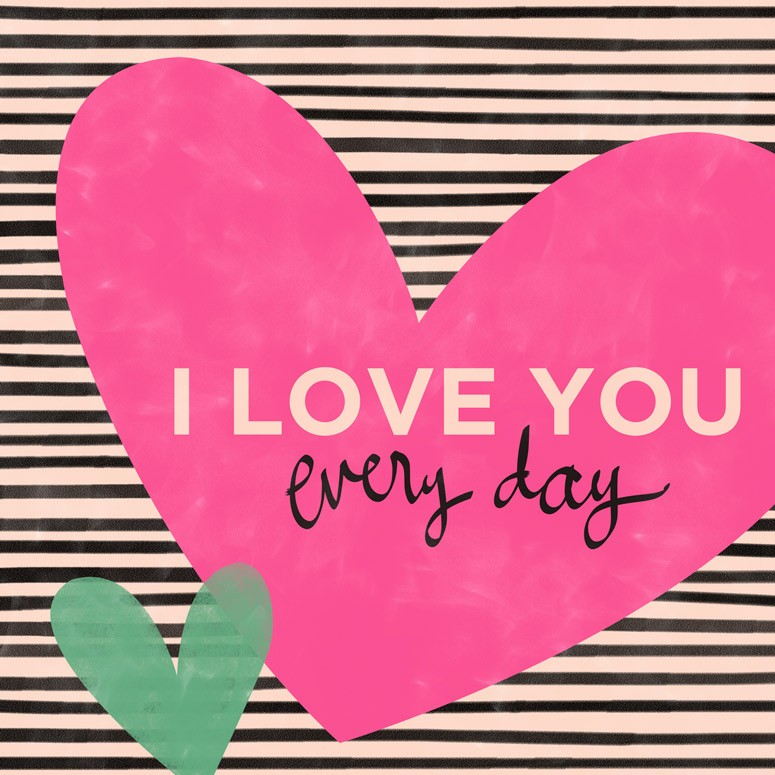 I Love You Everyday Hearts Canvas