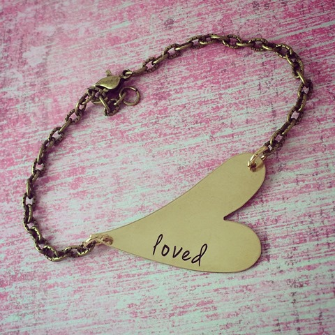Customizable Brass Heart Bracelet