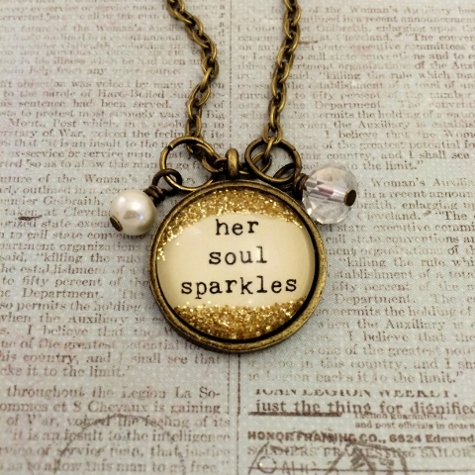 Glitter & Glass Necklace - Bronze Type Soul Sparkles