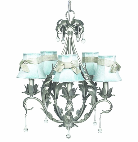 Pewter 5-Arm Caesar Chandelier with Blue/Champagne Shades