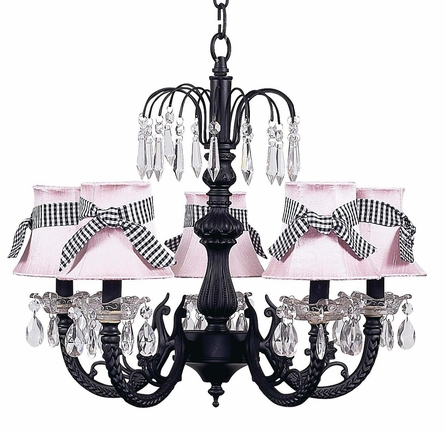 Black 5-Arm Waterfall Chandelier with Pink/Black Shades
