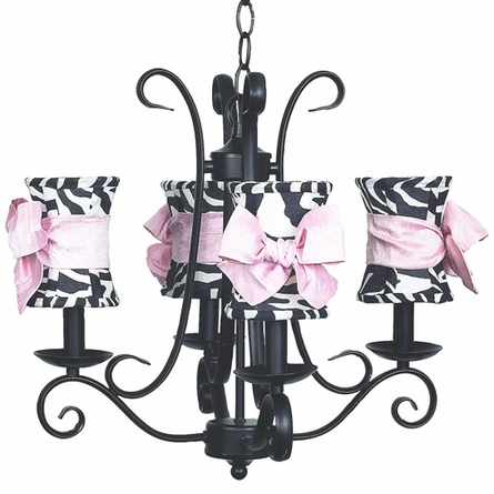 Harp 4-Arm Black Chandelier w/ Zebra & Pink Shades
