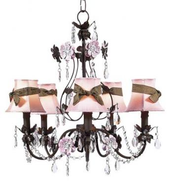 Mocha/Pink 5-Arm Flower Garden Chandelier with Shades