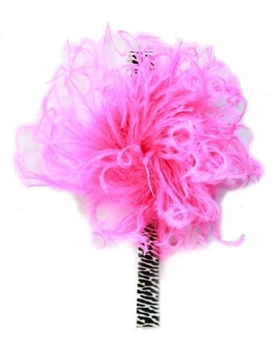Zebra Flowerette Burst with Hot Pink Curly Marabou