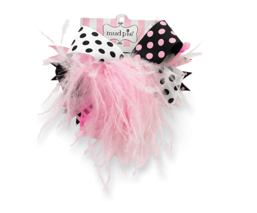 Mud Pie Black & Pink Ostrich Party Bow