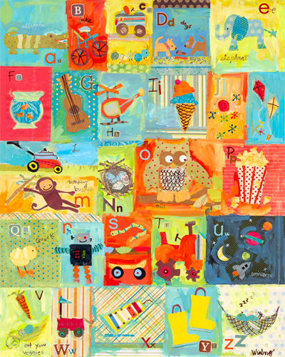 Favorite Things Alphabet Boy Canvas Reproduction