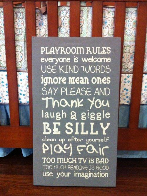 Twelve Timbers Playroom Rules Wall Hanging