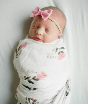 Luxe Bamboo Muslin Swaddle - Pink Peony