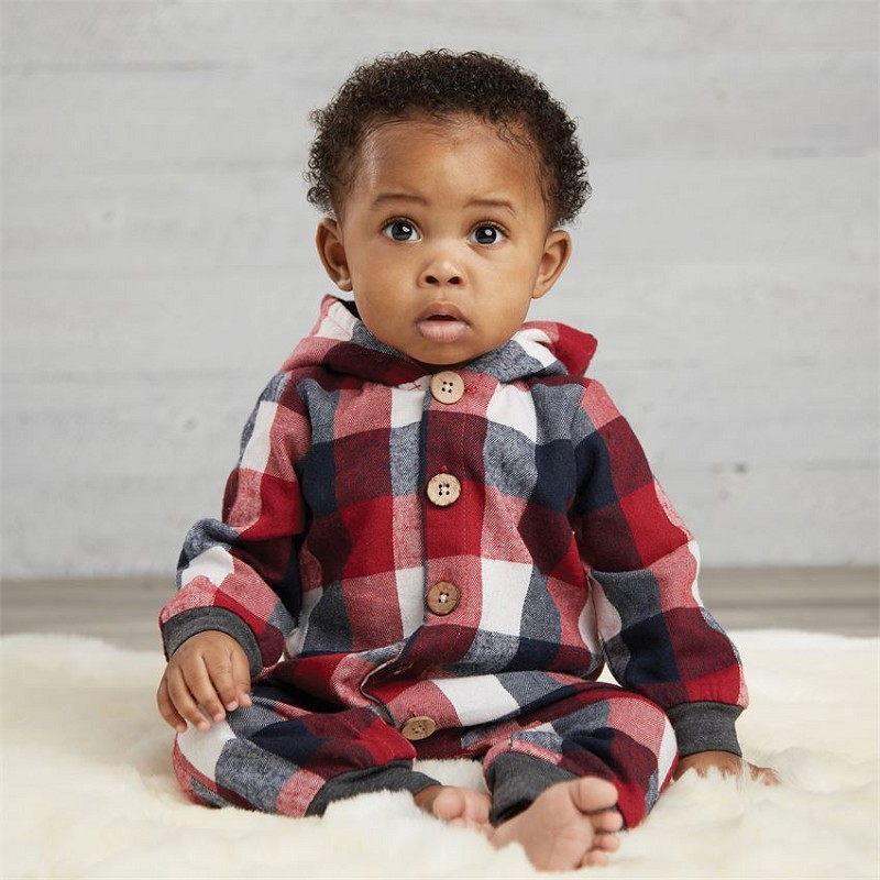 Mud Pie Buffalo Check Hooded Romper