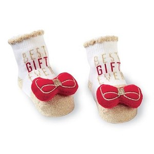 Mud Pie Bow Toe Rattle Socks - Red