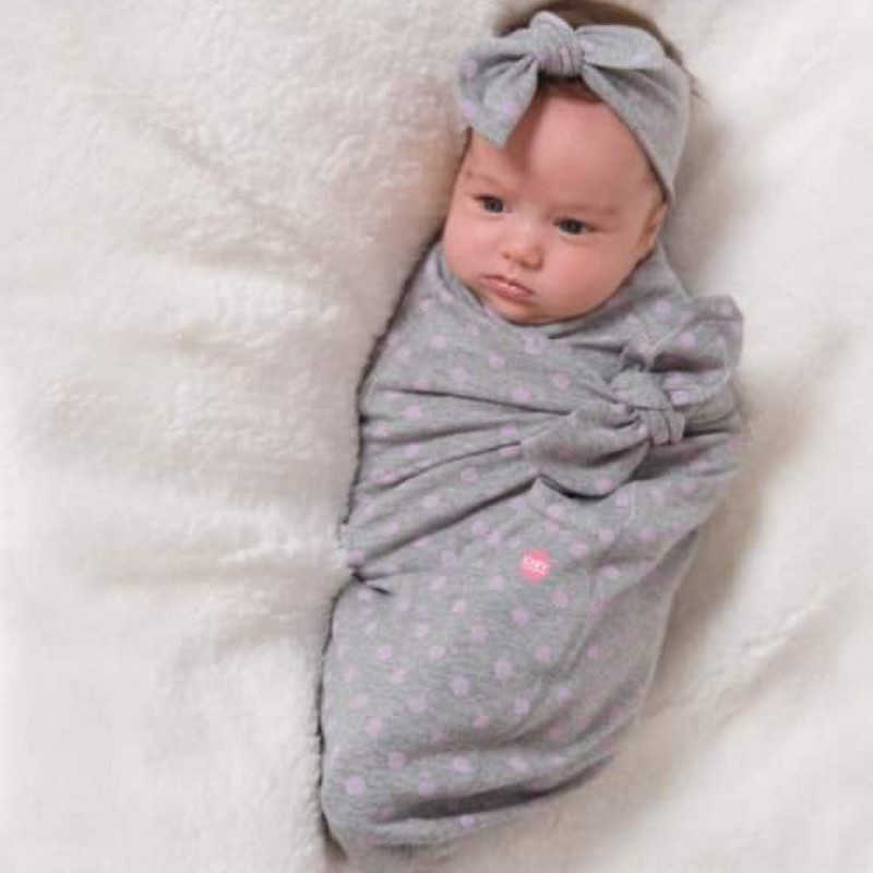 Grey with Pink Dots Cozy Wrap Set