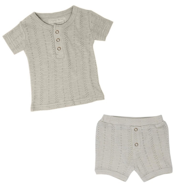 Stone Pointelle Henley Outfit