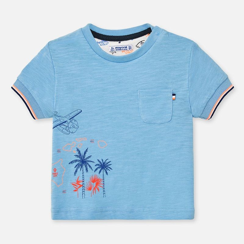 Blue Short Sleeve T-Shirt Pocket