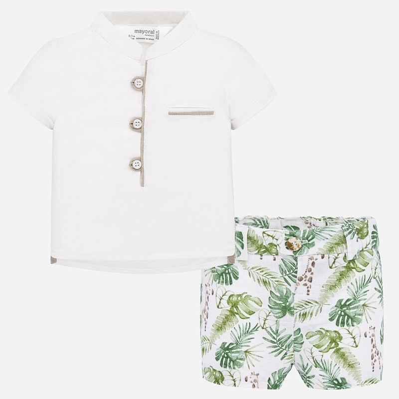 White Shirt & Printed Shorts