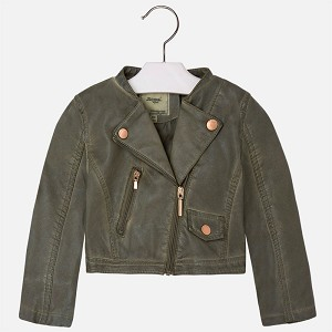Mayoral Girl's Cropped Leather Jacket - Hunter Green