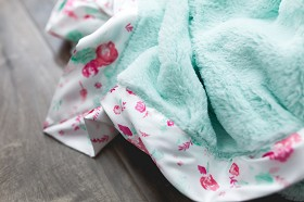 Floral Satin Lush Blanket Mint Floral Yummy Baby