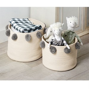 Mud Pie Pom Pom Basket Set - Grey