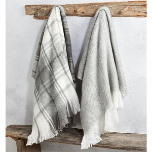 Mud Pie Grey & White Throw Blanket