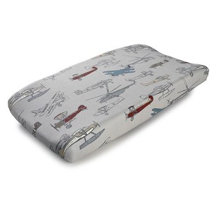 Liz and Roo Contoured Changing Pad Cover - Vintage Airplane