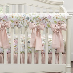 Liz and Roo Crib Rail Cover - Blush Watercolor Floral with Oversize Bows